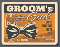 Groom goods retro poster with tuxedo and bowtie. Shop with groom goods retro poster with wedding tuxedo and bowtie. Male outfit for marriage ceremony store or vector illustration