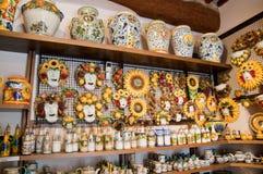 Shop of handmade pottery Italy. Italian Tuscan pottery shop siena st giminiano Stock Photography