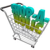 Shop-a-Holic-Word-Shopping Cart-Addicted-to-Buying-Spending-Mone. The word Shop-a-Holic in a shopping cart to illustrate an addiction to buying things and Royalty Free Stock Images