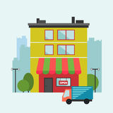 Shop house illustration with delivery van Royalty Free Stock Images