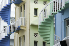 Shop house staircases singapore architecture Royalty Free Stock Photo