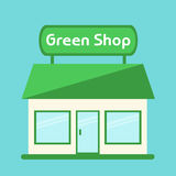 Shop icon. Modern  green shop building. Stock Photos