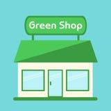 Shop icon. Modern  green shop building. Stock Photos