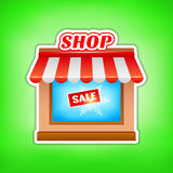 Shop icon. Sale, vector illustration Royalty Free Stock Photo
