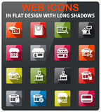 Shop icon set. Shop icons set in flat design with long shadow Royalty Free Stock Photography