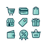 Shop Icon Set. Modern and sophisticated shop icon set Stock Photos