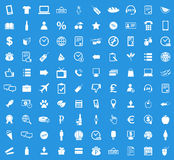 100 Shop icon set. Simple white images on blue background Royalty Free Stock Image
