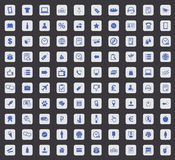 100 Shop icon set, square. 100 Shop icon set, blue images in light gray square, on black background Royalty Free Stock Photo