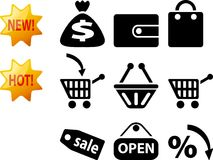 Shop icons. Icons for internet shop. Black icons for web Royalty Free Stock Photo