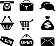 Shop icons. Black icons for internet shop. Web icons Stock Images