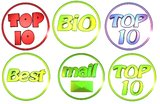 Shop icons. 3D shop icons, top 10, best, mail, bio Stock Photos