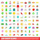 100 shop icons set, cartoon style. 100 shop icons set in cartoon style for any design vector illustration Stock Image
