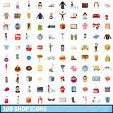 100 shop icons set, cartoon style Royalty Free Stock Photography