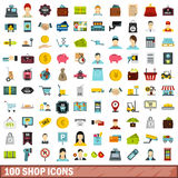 100 shop icons set, flat style Royalty Free Stock Images