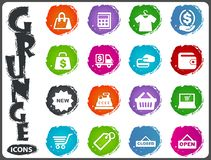 Shop icons set in grunge style Stock Photos