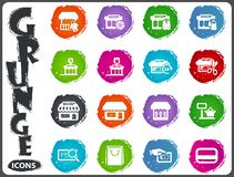 Shop icons set in grunge style Royalty Free Stock Photography
