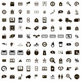 100 Shop icons set. Isolated on white background Stock Images