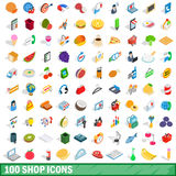 100 shop icons set, isometric 3d style. 100 shop icons set in isometric 3d style for any design vector illustration royalty free illustration