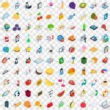 100 shop icons set, isometric 3d style Stock Image