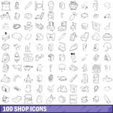 100 shop icons set, outline style Stock Photo