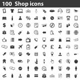 100 Shop icons set. Simple black images on white background Stock Image
