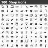 100 Shop icons set Stock Image