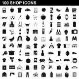 100 shop icons set, simple style. 100 shop icons set in simple style for any design illustration royalty free illustration