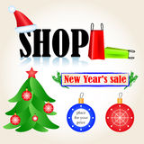 SHOP. Inscription shop in New Years style vector illustration