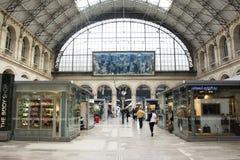 Shop inside of Gare de Paris-Est station in Paris, France. French people and foreigner travlers walking and shopping at many shop inside of Gare de Paris-Est or Stock Image