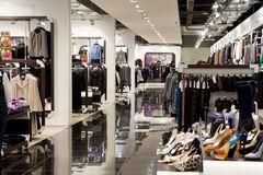 Shop interior. Interior of shop of fashionable clothes Royalty Free Stock Photo