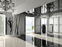 Shop interior. The modern shop interior design project(3D image Stock Photography