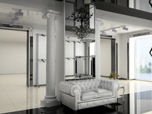 Shop interior. The modern shop interior design project (3D image Royalty Free Stock Photo
