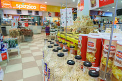Shop interior. Gas station store interior in Italy. Photo taken on: Septembre 12, 2015 stock photos