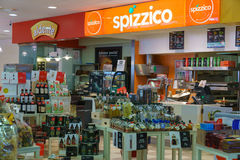 Shop interior. Gas station store interior in Italy. Photo taken on: Septembre 12, 2015 royalty free stock images