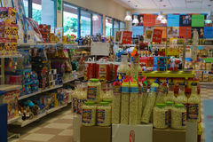Shop interior. Gas station store interior in Italy. Photo taken on: Septembre 12, 2015 royalty free stock photos