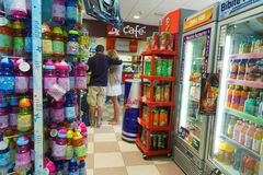 Shop interior. Gas station store interior in Italy. Photo taken on: Septembre 12, 2015 stock photo