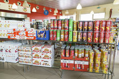Shop interior. Gas station store interior in Italy. Photo taken on: Septembre 12, 2015 stock image