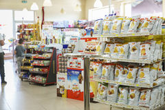 Shop interior. Gas station store interior in Italy. Photo taken on: Septembre 12, 2015 stock photography