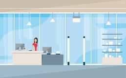 Shop Interior Sales Woman Stand Near Cash Desk Stock Photos