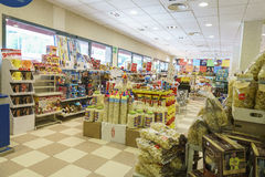Gas station store interior. Very high resolution, 42.2 megapixels. It is a gas station inside the store in Italy. Photo taken on: June 05, 2016 stock images