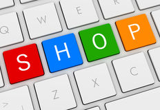 Shop keyboard concept 3d illustration. Shop keyboard 3d illustration  on white background Royalty Free Stock Photos