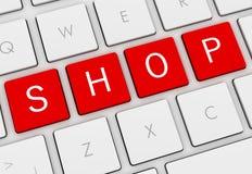 Shop keyboard concept 3d illustration. Shop keyboard 3d illustration  on white background Royalty Free Stock Photo