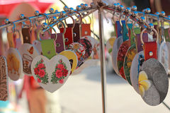 Shop Keychain handmade in the market Stock Image