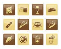 Shop-, Lebensmittel- und Getränkikonen über braunem Hintergrund Stockfotos