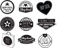 Shop local, community shops and stores logos. Series of logos, stickers, labels or badges witha supporting the local community theme Royalty Free Stock Photography