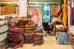 Shop of local fabrics sale in a shop Muttrah Souk, in Mutrah, Muscat, Oman, Middle East stock image