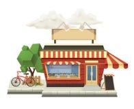 Shop, low poly vector icon Royalty Free Stock Photos