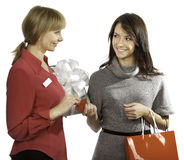 Shop manager and customer Royalty Free Stock Photo