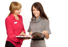 Shop manager and customer Stock Photo