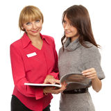 Shop manager and customer Royalty Free Stock Photos